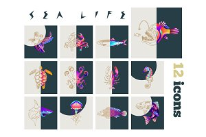 Fish & sea life icons