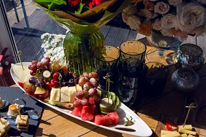 fruit on table grape pear cherry