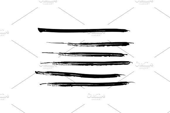 Set Of Black Paint Ink Brush Strokes Lines Dirty Artistic Design Elements Vector Eps10