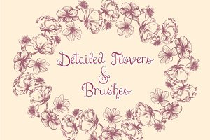 Detailed Flowers & Brushes