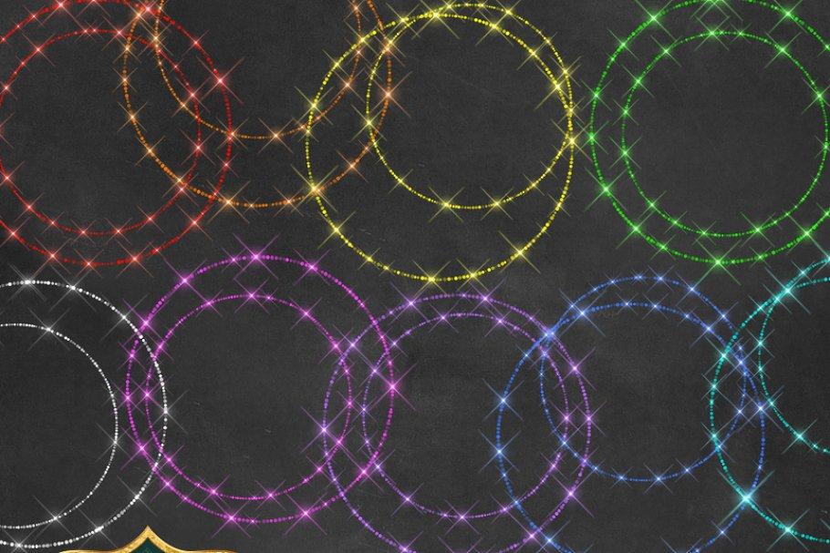 Sparkling Rainbow Circles Clipart