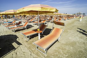 Sunbeds and umbrellas on the beach
