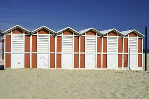 Wooden cabins on the beach