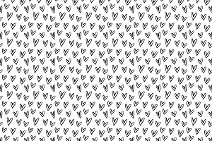 Black & White Hearts Vector Pattern