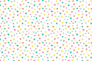 Confetti Hearts Vector Pattern