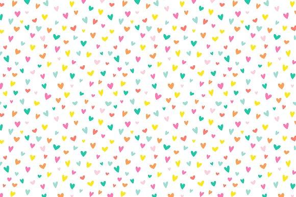 Confetti Hearts Vector Pattern