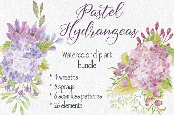 Clip Art Bundle Pastel Hydrangeas