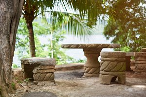 Patio with stone furniture