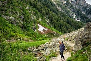 Girl Hiking Mountain Trail