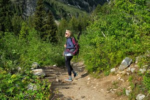Girl Hiking Canyon Trail