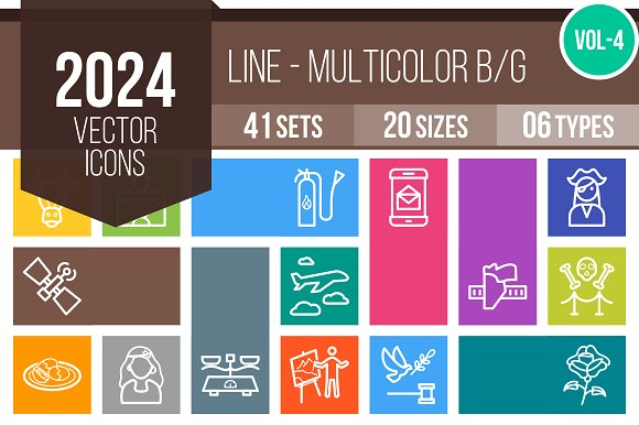 2024 Vector Line Colorful Icons