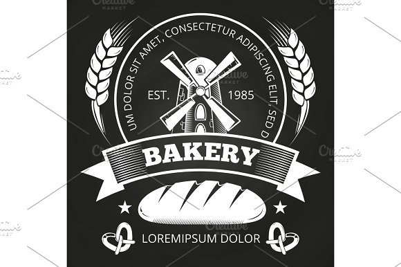 Bakery House Or Shop Label Design With Bread