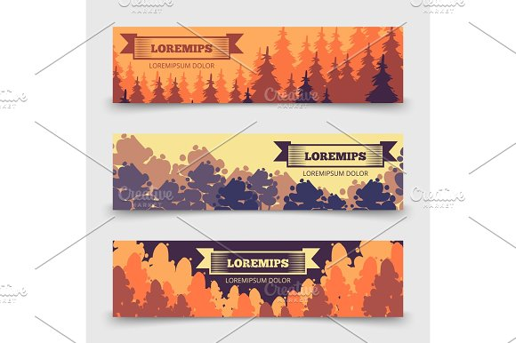 Abstract Forest Horizontal Banners Template Banners With Trees Design