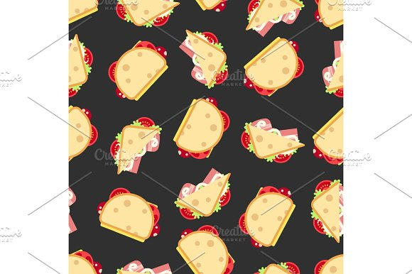 Sandwiches Seamless Pattern- Fast Food Seamless Texture