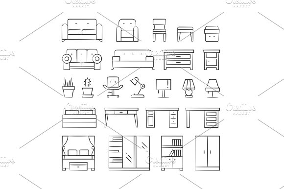 Hand Drawn Living Room Furniture Icons On White Background