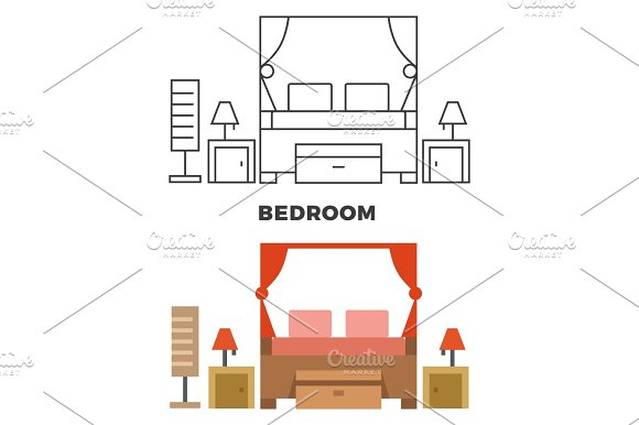 Bedroom Concept Flat Style And Line Style Bedroom