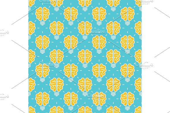 Idea Pattern Design Seamless Pattern With Brain Lamp