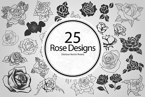 25 Rose Designs (Vector)