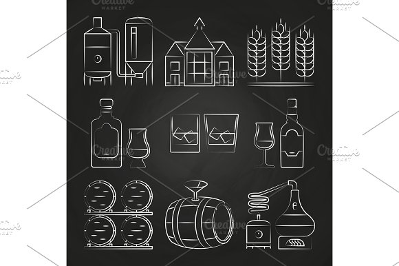 Whiskey Process And Icons On Chalkboard