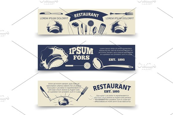 Vintage Restaurant Horizontal Banners Template