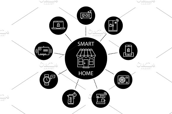 Smart Home Concept With Thin Line Icons