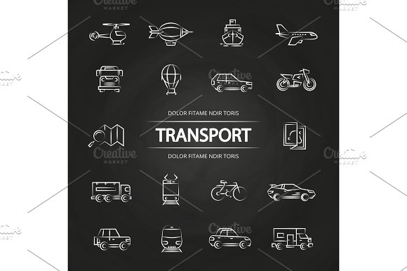 Transport Line Icons Collection On Blackboard