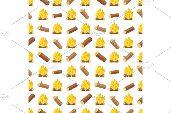 Wood Logs And Bonfires Seamless Pattern