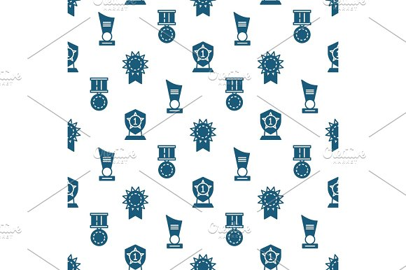 Awards Trophy And Prizes Seamless Pattern Winner Seamless Texture