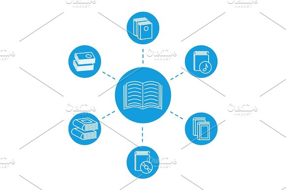 Reading Concept Book Line Icons