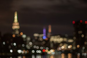 Blurred Manhattan view in night