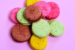 bunch of multicolored macarons