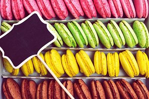 Multicolored biscuits macarons