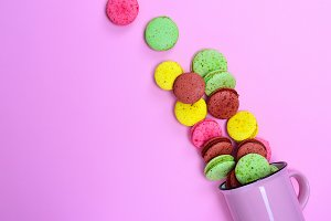 Macarons on a pink background