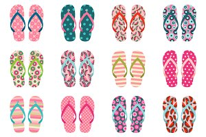 Cute summer flip flops clipart set