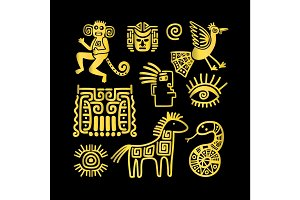 Aztec ancient animal golden symbols