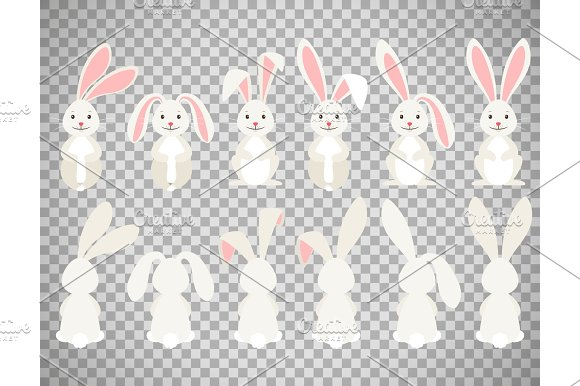 Easter Cartoon Bunny On Transparent Background
