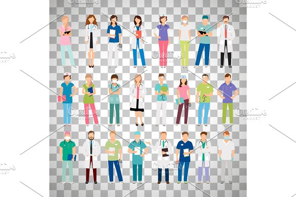 Doctors And Nurses On Transparent Background
