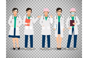 Female doctors on transparent background