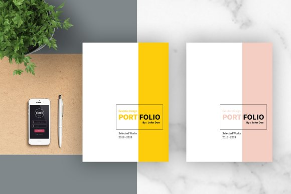 Graphic design portfolio template brochure templates on for Graphic designer portfolio template free download