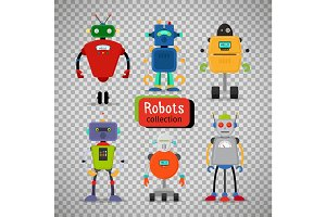 Cute cartoon robots on transparent background