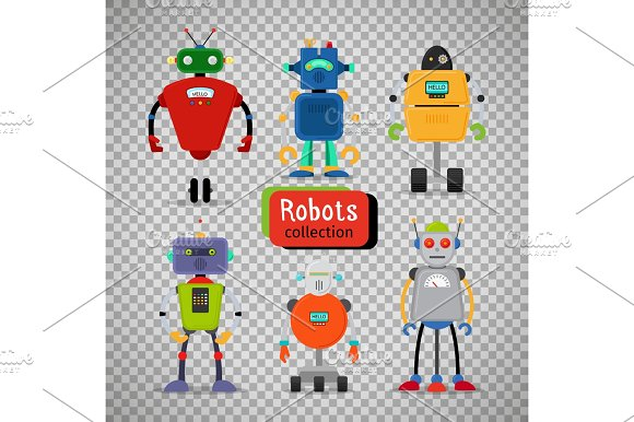 Cute Cartoon Robots On Transparent Background