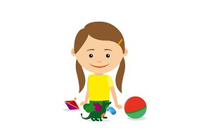 Little girl sitting with toys