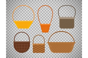 Empty baskets on transparent background