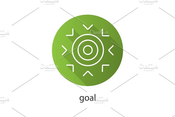 Goal Flat Linear Long Shadow Icon