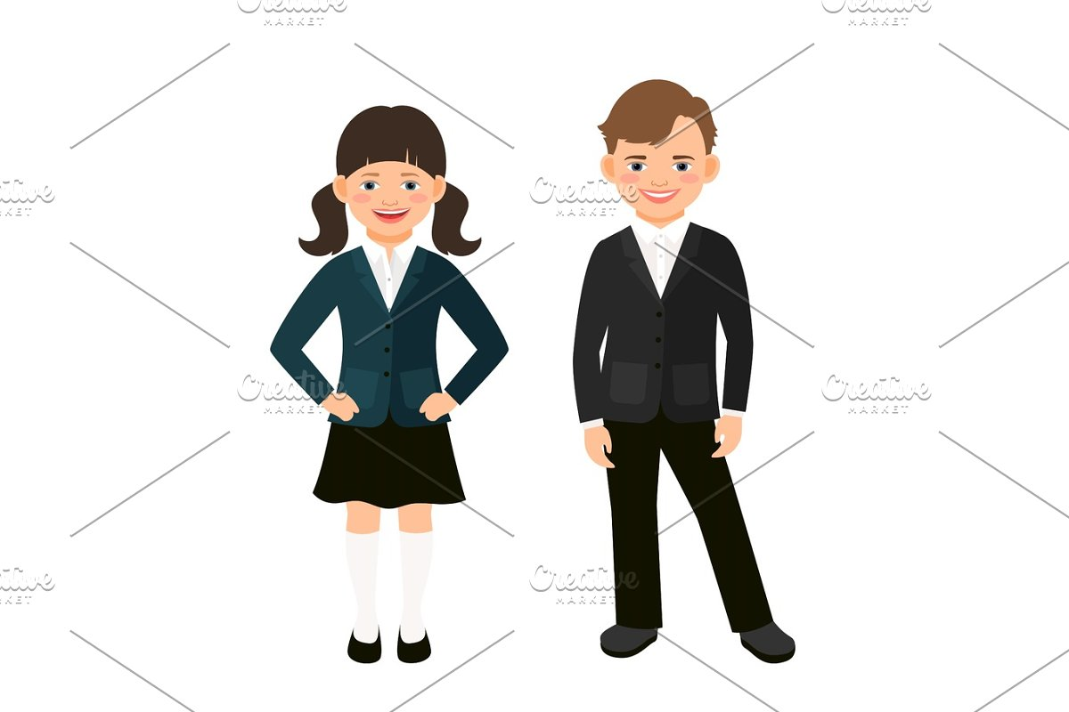 Elementary primary students kids in uniform in Objects - product preview 8