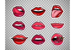 Female lips patches on transparent background