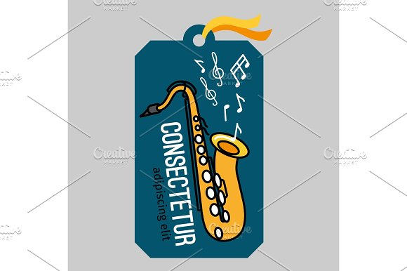 Music Tag With Saxophone
