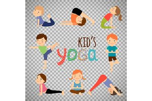 Yoga kids set on transparent background