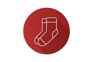 Warm socks flat linear long shadow icon