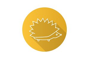 Hedgehog flat linear long shadow icon